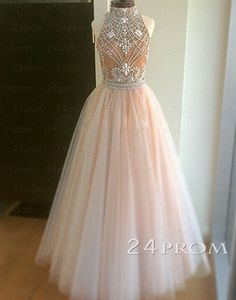 Champagne Tulle beaded 2 Pieces Long Prom Dresses, Formal Dresses, evening dresses,  www.24prom.com  #prom #promgown #dress #promdresses