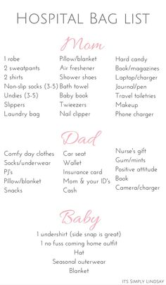 hospital bag checklist - It's Simply Lindsay