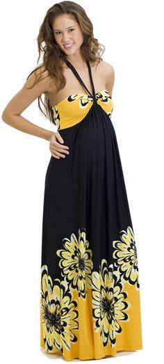 Black & Orange Maternity Maxi Maternity Dress