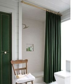 Stunning Bathroom With Forest Green Door And Shower Curtain Also White Walls : Shower Curtains Can Enhance The Entire Bathroom Look