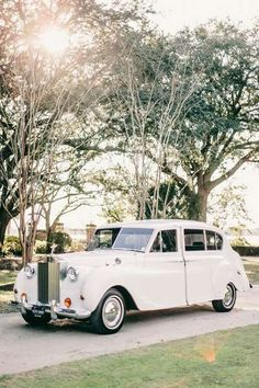 vintage rolls royce, wedding getaway car