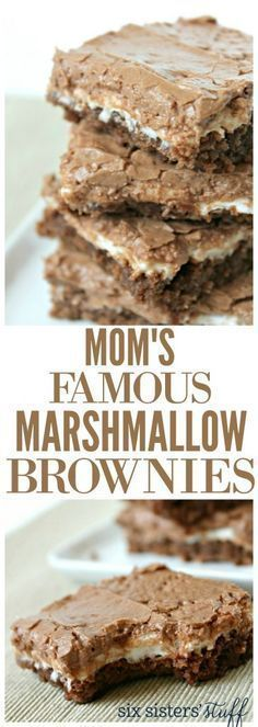 Mom's Famous Marshmallow Brownies from Six Sisters' Stuff Our mom gets asked to bring these brownies to every single social gathering! This is one of the best desserts! Best Brownie Recipe… is part of Desserts - Brownie Desserts, 13 Desserts, Brownie Recipes, Delicious Desserts, Easy Potluck Desserts, Potluck Food, Famous Desserts, Potluck Dinner, Nutella Cheesecake