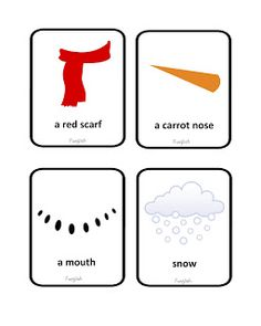 snowman,  snow, winter, cards, flashcards, primary school