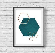 Teal Printable Art Hexagon Print Teal Print Gold by PrintAvenue