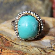 Turquoise Ring - Genuine Turquoise Ring - Sterling Silver Ring - Southwestern Ring - Artisan Jewelry - Natural Turquoise - Size 6.5 Ring by EarthsBountyGems on Etsy