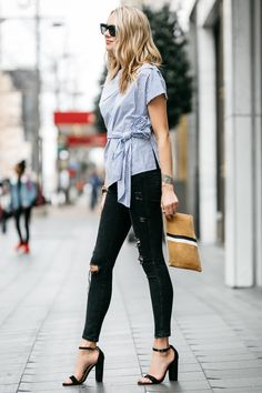 Fashion Jackson, Dallas Blogger, Street Style, Blue & White Stripe Off-the-Shoulder Top, Black Ripped Skinny Jeans, Clare V Stripe Flat Clutch, Steve Madden Carrson Sandals, Black Ankle Strap Sandal Heels