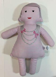 "Baby Gap 2011 Pink White Stripe Floral Girl Plush Doll Necklace 12.5"""