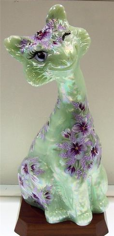 Fenton Alley Cat Sea Green Satin Violets Are Blue and Violet OOAK Freeusaship | eBay