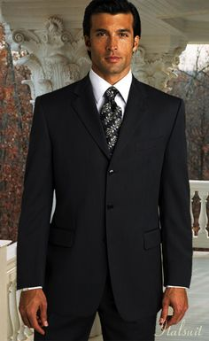 LKU-MENS SOLID COLOR BLACK 3 BUTTON WOOL 2PC SUIT BY:TESSORI UOMO SUPER 150'S EXTRA FINE ITALIAN MADE.