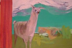 Inspired by Neo Rausch, Including a red curtain and stage and surreal shapes used with brushwork. Llama; oil and latex on canvas. 2010. by Jannicke Swing