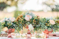 Decor for summer wedding - copper + peach centerpiece
