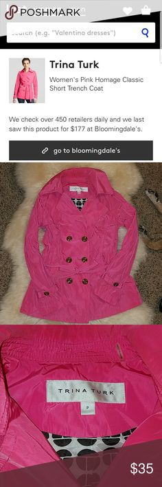 Pink Trench Coat Trina Turk Homage Trench Coat in hot pink. Perfect for October! Size P (petite). Trina Turk Jackets & Coats Trench Coats