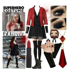 """AOU: The Scarlet Witch"" by d-cuevas ❤ liked on Polyvore featuring Rimmel, Static Nails, Accessorize and Lila's"