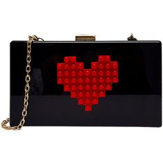 Pink Cosmo Black Red Heart Clutch ($33) ❤ liked on Polyvore featuring bags, handbags, clutches, imitation purses, pink purse, black handbags and imitation handbags
