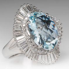 Large+Aquamarine+&+Diamond+Ballerina+Cocktail+Ring+Platinum $8,699 -- fabulous on the hand -- must see!!