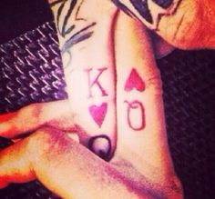 Couple tattoos. King  Queen.