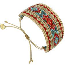 Bracelet manchette Sunflower (rouge, beige et turquoise) - Bijoux Fantaisie Créateurs