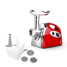 5 Star Chef Electric Meat Grinder Sausage Maker w/ Mincer Sausage Sauce Functions Red