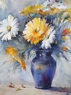 "Blue Vase by Shuang Li Watercolor ~ 10"" (25CM) x 8"" (20cm)"