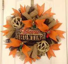 Gone Huntin Burlap deco mesh wreath. *Handmade item: (hanger not included) *Materials: Burlap deco mesh, poly mesh, wire frame, wired ribbon, Camo Wreath, Hunting Wreath, Diy Wreath, Deco Mesh Wreaths, Fall Wreaths, Burlap Wreaths, Crafts To Make, Arts And Crafts, Diy Crafts