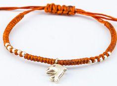 Fair Trade Thai Hill Tribe Silver Charm Waxed Cotton Bracelet Rust Dolphin