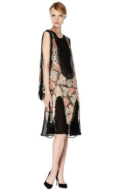 Great Gatsby Inspired: Chiffon Embellished Evening Dress With Multicolor Tulle Inset by New York Vintage for Preorder on Moda Operandi