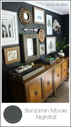 Benjamin Moore Nightfall paint color - I'm thinking of painting the living room a dark gray to contrast with all the white paint (trim, fireplace, moldings) in there.