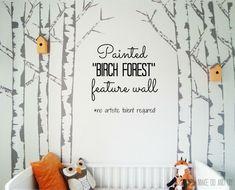 diy birch tree painted mural feature wall nursery kids room. www.makedoanddiy.com