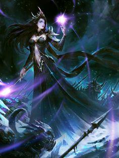 Snow Queen by Sun haiyang on ArtStation. Dark Fantasy Art, Fantasy Art Women, Beautiful Fantasy Art, Fantasy Rpg, Fantasy Girl, Fantasy Artwork, Beautiful Witch, Elves Fantasy, Fantasy Makeup