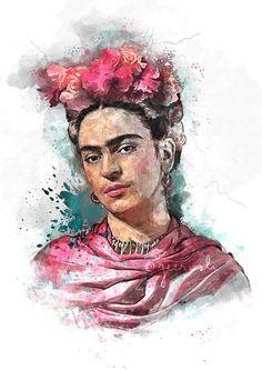 Frida Kahlo retrato Nº ilustración acuarela Arte por Jeerish