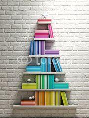 bookshelf, christmas tree,