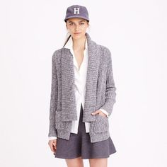 J Crew marled rib stitch open cardigan sweater This cozy cardigan boasts an easy silhouette with a shawl collar and a chunky rib knit. A superwarm pick that's polished enough for work but comfy enough for lazy Sundays J. Crew Sweaters Cardigans