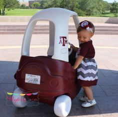 Texas A Aggie Cozy Coupe Makeover. Headband made by Peyton's Lane. www.etsy.com/shop/peytonslane