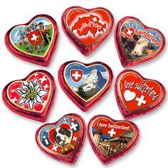 """Perfect gifts for Valentine's Day! Grosse Pralinenherzen rot """"Schweiz"""""""