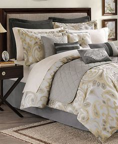 These Barrington comforter sets possess modern allure with an intriguing paisley design in neutral hues. Coordinating elements with diamond stitching, piped edges and pleated accents add extra dimension to your bed.