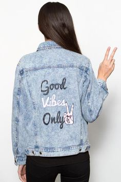 Good Vibes Only Denim Jacket by Honey Punch
