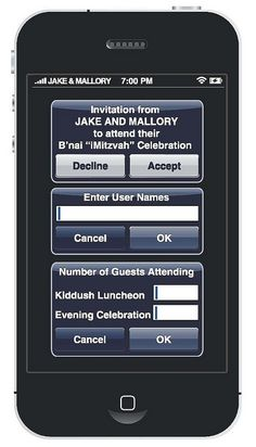 iPhone iParty Mitzvah Invitation RSVP from Perfect Party Orlando - mazelmoments.com