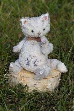 Купить Тедди Котик - серый, белый, кот, котик, тедди кот, кот тедди, тедди