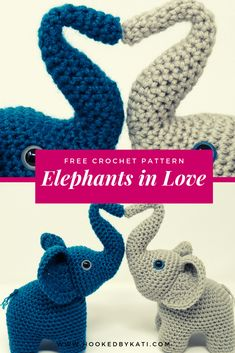 Amigurumi elephants with trunks raised in a heart, a symbol of both love and good fortune. This free crochet pattern is a perfect wedding, engagement, or baby shower gift.