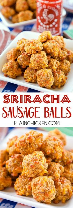 Sriracha Sausage Balls - THE BEST! Great for parties! You can mix together and freezer for later. Sausage, bisquick, cream cheese, cheddar cheese and sriracha. We always have some in the freezer! SO g (Keto Sausage Recipes) Finger Food Appetizers, Yummy Appetizers, Appetizers For Party, Finger Foods, Appetizer Recipes, Parties Food, Party Snacks, Bisquick Recipes, Sausage Recipes