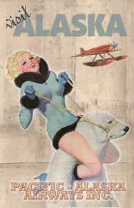 ALASKA AIRLINES - Pacific Pimup Girl POLAR BEAR - Vintage