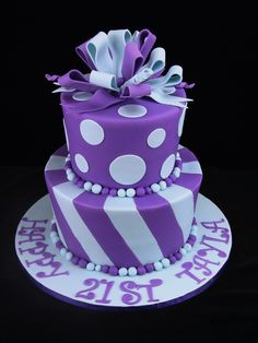 Spots and stripes: Two tiers of mud cake with milk chocolate ganache and decorated in fondant. Purple Cakes, Purple Wedding Cakes, Purple Party, Piping Frosting, Frosting Tips, Custom Birthday Cakes, Birthday Cakes For Women, Milk Chocolate Ganache, Mud Cake