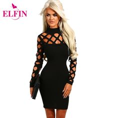 f7e0ce78fb304 Vestidos Sexy Women Dress Hollow Out Long Sleeve Slim Fit Bodycon Dresses  Party Mini Solid Plus Size Roupa Feminina LJ7411R-in Dresses from Women s  Clothing ...