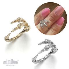 Punk Eagle Bird Claw Paw Talon Over The Midi Tip Finger Above The Knuckle Ring [Gold Antique]