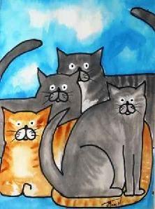 Lots of Cats - original acrylic painting
