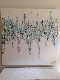 """White, gold, blues, greens abstract art by Jenn Meador. Titled """"Corey"""", 48""""x48"""" mixed media on canvas with high gloss topcoat. Email to purchase :) jennmeadorpaint@gmail.com"""