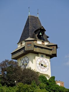 The hilltop clock tower of Graz.
