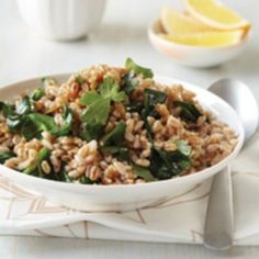 Toasted Farro with Greens and Tahini from Food & Wine - Here's a perfect for dinner following a stressful day at work! Farro is rich in the mineral magnesium, which relieves tension and produces a feeling of calm. Found at www.edamam.com.