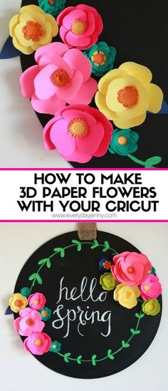 Paper Embroidery Check out this cute easy tutorial on how to make paper flowers with your Cricut Explore Air and find out what else you can do with it. Cricut Explore Air, 3d Paper Flowers, Diy Flowers, Felt Flowers, Do It Yourself Baby, Origami, Diy Papier, Paper Embroidery, Embroidery Designs