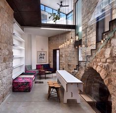 Modern cozy country or city house with stone and glass and some industrial elements (by @myinterior of instagram)
